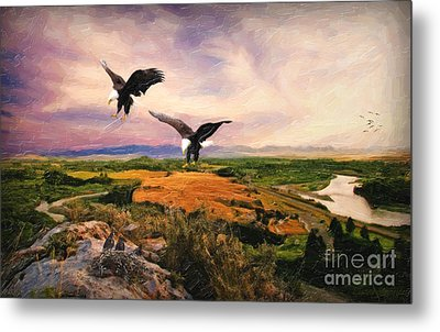Metal Print featuring the digital art The Eagle Will Rise Again by Lianne Schneider