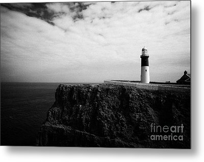 The East Light Lighthouse Altacarry Altacorry Head Rathlin Island Against Blue Sea And Blue Cloudy S Metal Print by Joe Fox