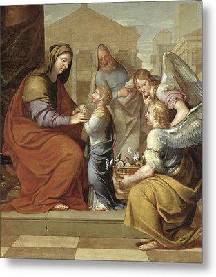 The Education Of The Virgin, 1658 Oil On Canvas Metal Print