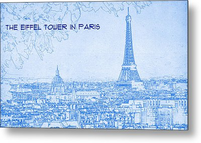 The Eiffel Tower In Paris - Blueprint Drawing Metal Print by MotionAge Designs