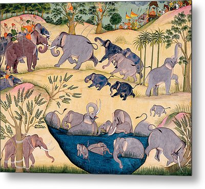 The Elephant Hunt Metal Print by Indian School