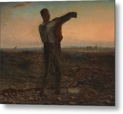 The End Of The Day Effect Of Evening  Metal Print by Jean-Francois Millet