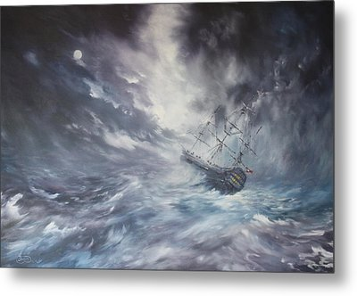 Metal Print featuring the painting The Endeavour On Stormy Seas by Jean Walker