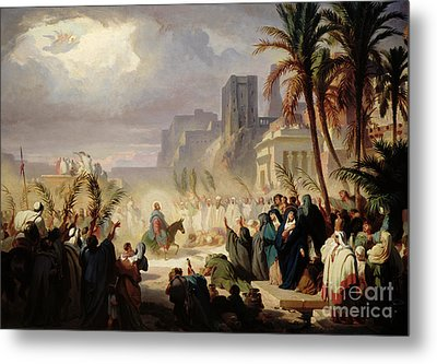 The Entry Of Christ Into Jerusalem Metal Print by Louis Felix Leullier