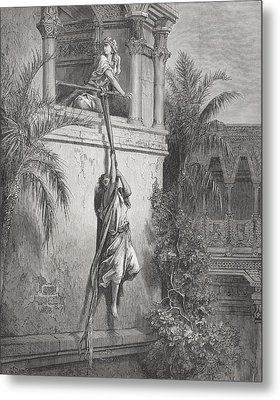 The Escape Of David Through The Window Metal Print by Gustave Dore