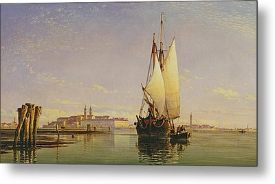 The Euganean Hills And The Laguna Of Venice - Trabaccola Waiting For The Tide Sunset Metal Print