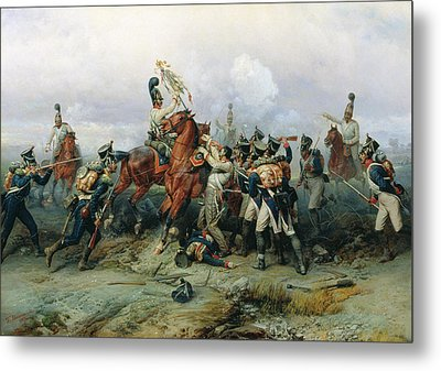 The Exploit Of The Mounted Regiment In The Battle Of Austerlitz, 1884 Oil On Canvas Metal Print by Bogdan Willewalde
