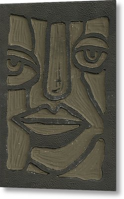 The Face Linoleum Block Carving Metal Print