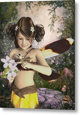 The Fairy And The Dragonfly Metal Print by Jayne Wilson
