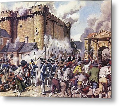 The Fall Of The Bastille Colour Litho Metal Print by Mike White