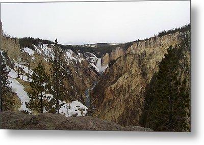 The Falls At Yellowstone Park Metal Print