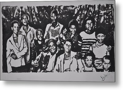 Metal Print featuring the drawing The Family by Linda Ferreira
