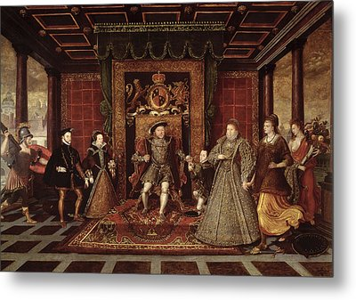 The Family Of Henry Viii An Allegory Of The Tudor Succession, C.1570-75 Panel Metal Print by Lucas de Heere