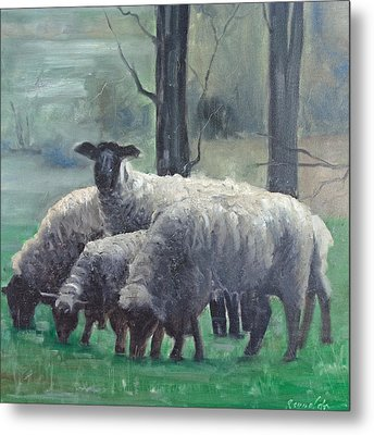The Family Of Sheep Metal Print by John Reynolds