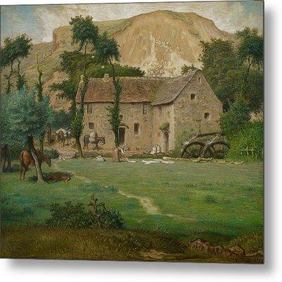 The Farm House Metal Print by Jean Francois Millet