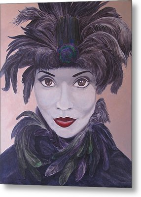 The Feathered Lady Metal Print by Leonard Filgate