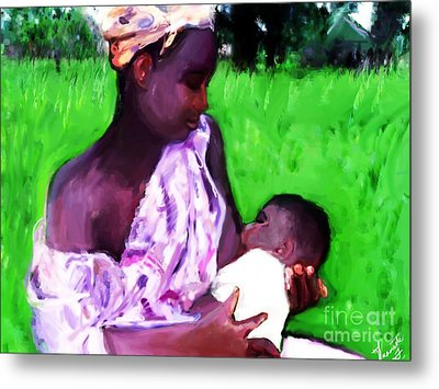 Metal Print featuring the painting The Feeding 2 by Vannetta Ferguson