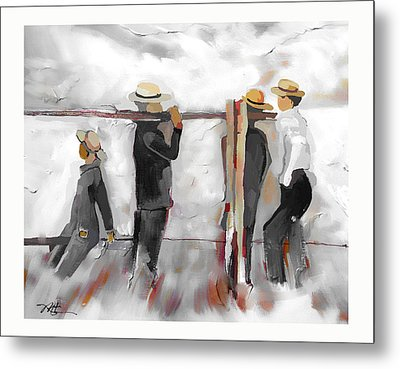 Metal Print featuring the painting The Fence Builders by Bob Salo