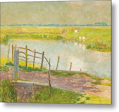 The Fence May, The Lys, 1902 Oil On Canvas Metal Print