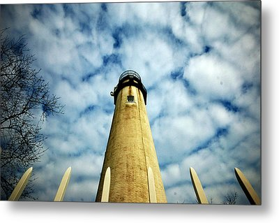 Metal Print featuring the photograph The Fenwick Light And A Mackerel Sky by Bill Swartwout