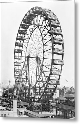 The Ferris Wheel At The Worlds Columbian Exposition Of 1893 In Chicago Bw Photo Metal Print by American Photographer