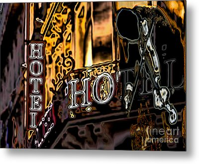The Fiddler In The Hotel Metal Print
