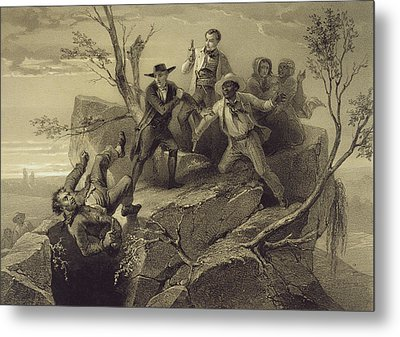 The Fight Between George And Tom Loker Metal Print by Adolphe Jean-Baptiste Bayot