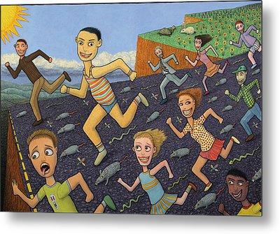 The Finish Line Metal Print by James W Johnson