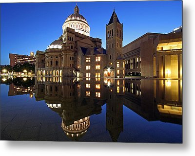 The First Church Of Christ At Twilight Metal Print by Juergen Roth