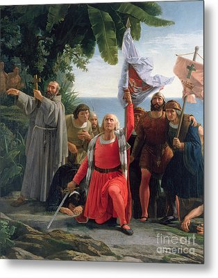 The First Landing Of Christopher Columbus In America Metal Print