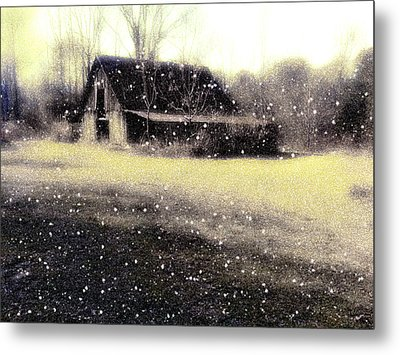 The First Snow Fall On The Old Barn Metal Print by Lisa  Griffin