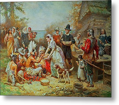 The First Thanksgiving Metal Print by Jean Leon Gerome Ferris