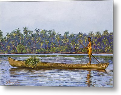 The Fisherman And His Boat Metal Print by Dominique Amendola