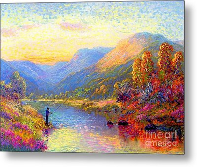 Fishing And Dreaming Metal Print by Jane Small