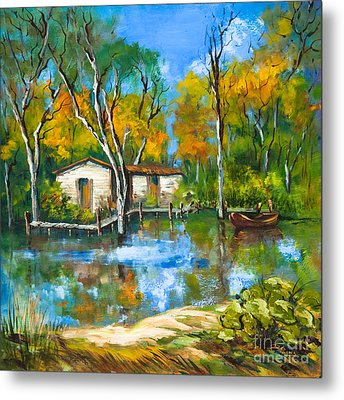 Metal Print featuring the painting The Fishing Camp by Dianne Parks