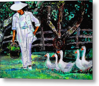 Metal Print featuring the painting The Five Ducks by Helena Bebirian