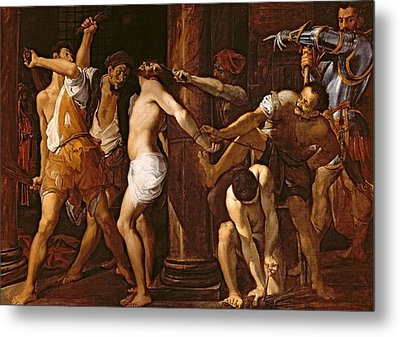 The Flagellation Of Christ, 1586-87 Oil On Canvas Metal Print by Lodovico Carracci