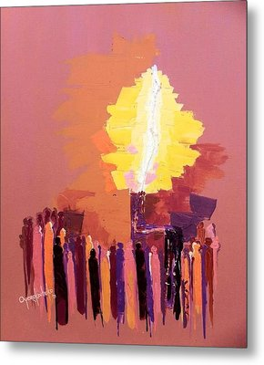 Metal Print featuring the mixed media The Flare A Beacon Of Hope And Anguish by Oyoroko Ken ochuko