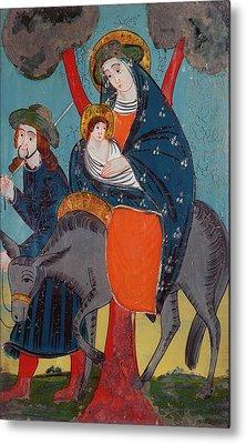 The Flight Into Egypt Glass Painting Metal Print by Austrian School