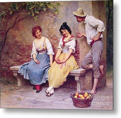 The  Flirtation Metal Print by Pg Reproductions