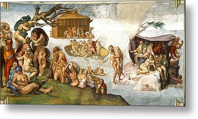 The Flood Metal Print by Michelangelo di Lodovico Buonarroti Simoni