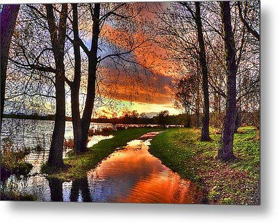 The Flooded Sunset Path Metal Print by Kim Shatwell-Irishphotographer