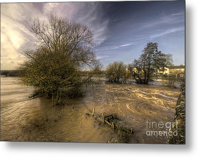 The Floods At Stoke Canon  Metal Print by Rob Hawkins