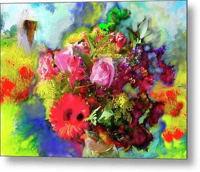 Metal Print featuring the painting The Florist by Ted Azriel