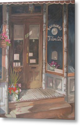 Metal Print featuring the painting The Florist by Tony Caviston