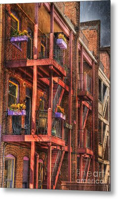 The Flower Pots On The Patio Metal Print by Paul Ward