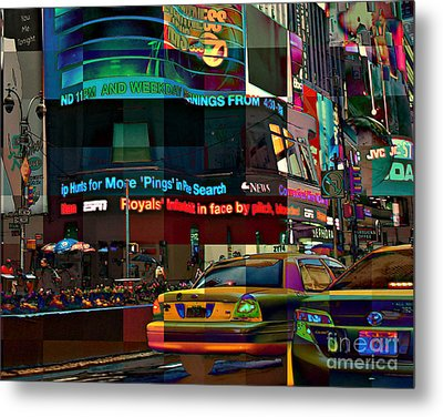The Fluidity Of Light - Times Square Metal Print by Miriam Danar