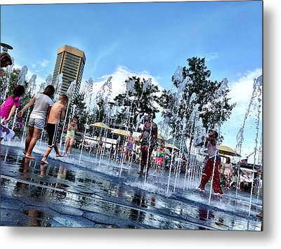 The Fountains At The Inner Harbor Metal Print