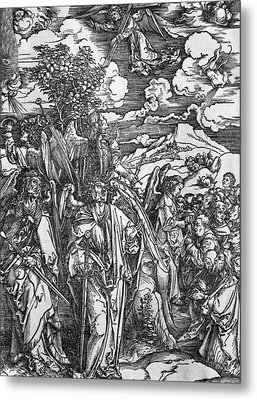 The Four Angels Holding The Winds Metal Print by Albrecht Durer or Duerer