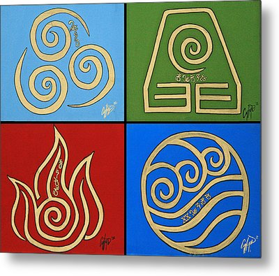 The Four Elements In Cy Lantyca Metal Print